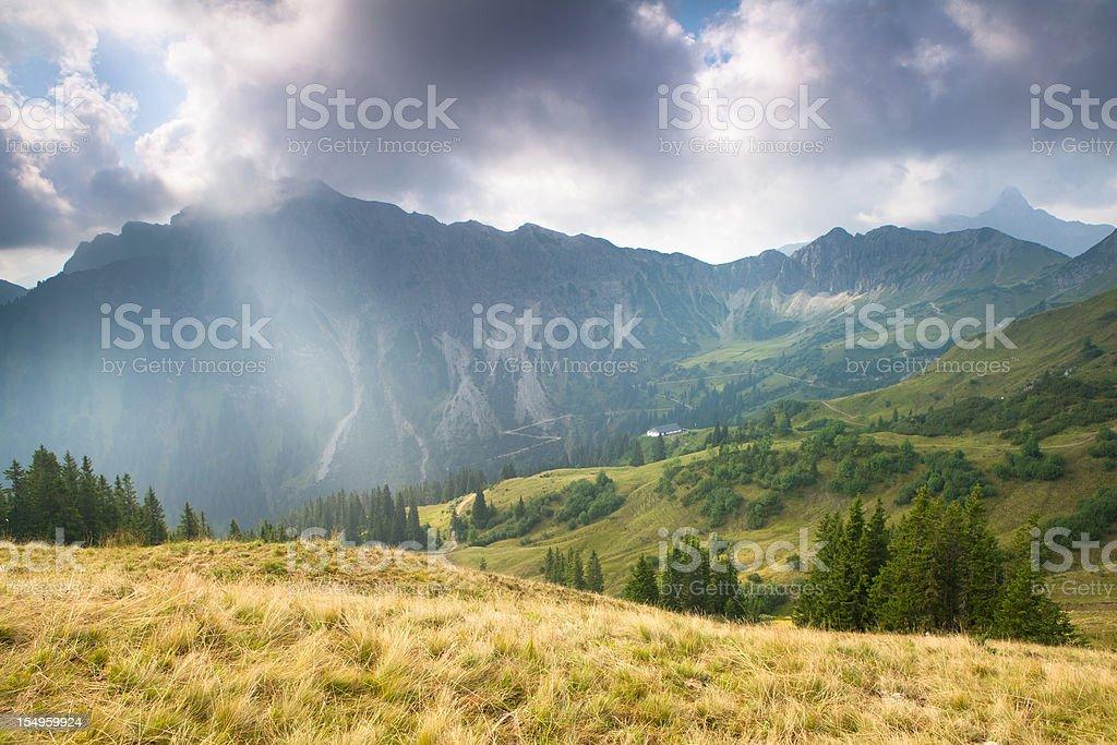 panoramic alpine view in tirol, austria, alps royalty-free stock photo