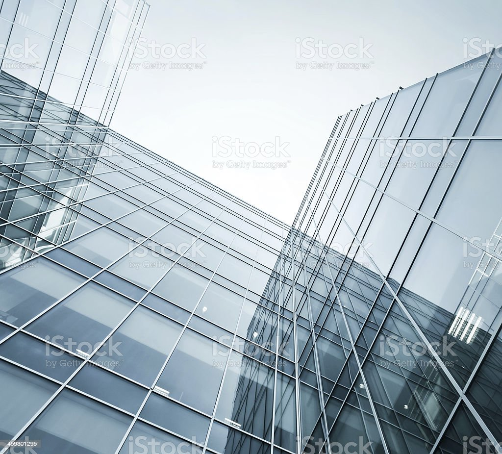 Panoramic and perspective wide angle view to steel blue backgrou stock photo