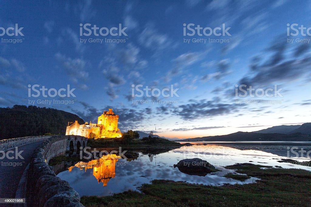 Panoramic at dusk of Eilean Donan Castle, Highlands, Scotland stock photo