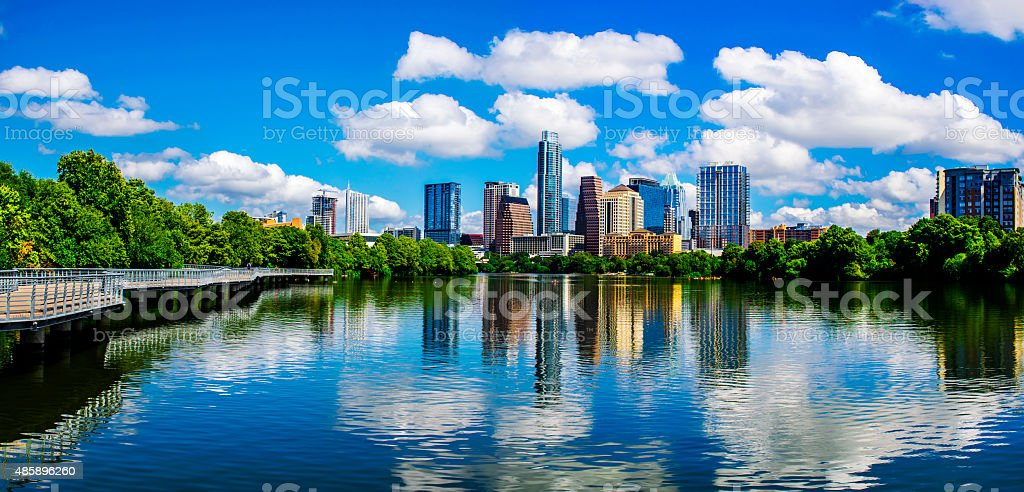 Panoramic Austin Texas Reflections Lady Bird Lake 2015 stock photo