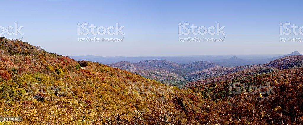 panoramic Autumn landscape of great smoky mountains in Appalachia royalty-free stock photo