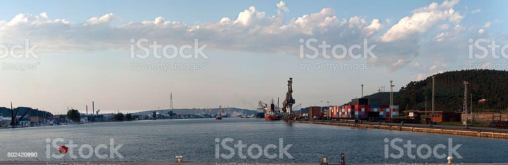 panoramic aviles harbor stock photo