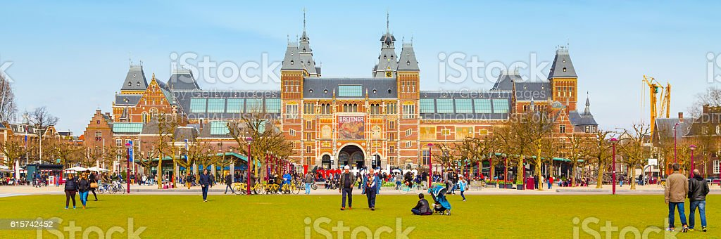 Panoramic banner background of Museumplein, Rijksmuseum, Holland stock photo