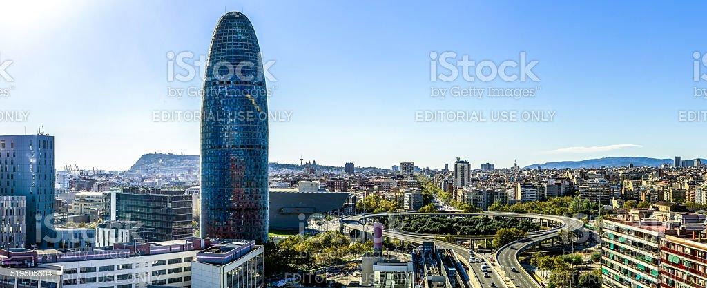 panoramic barcelona skyline day catalonia spain glories horizontal blue sky stock photo