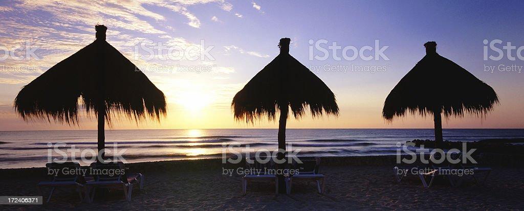 Panoramic Beach Huts at Sunrise royalty-free stock photo