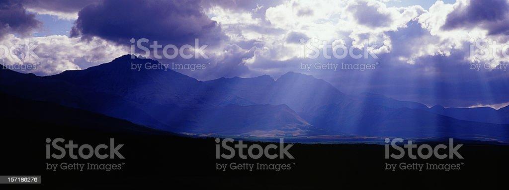 Panoramic Beaming light in Waterton National Park royalty-free stock photo