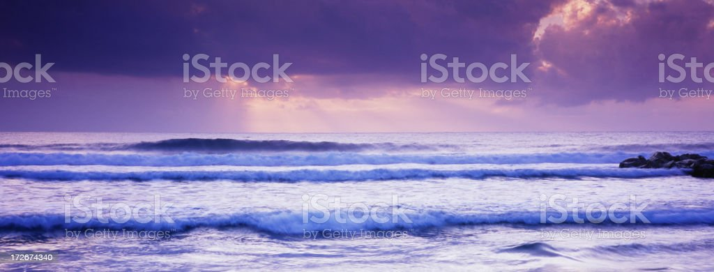 Panoramic Beams from Heaven over Ocean royalty-free stock photo