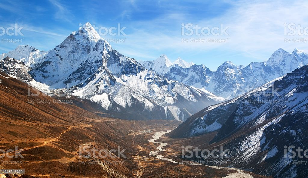 Panoramic beautiful view of mount Ama Dablam stock photo