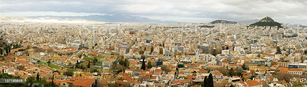 Panoramic bird's eye view of Athens from Akropolis hill royalty-free stock photo
