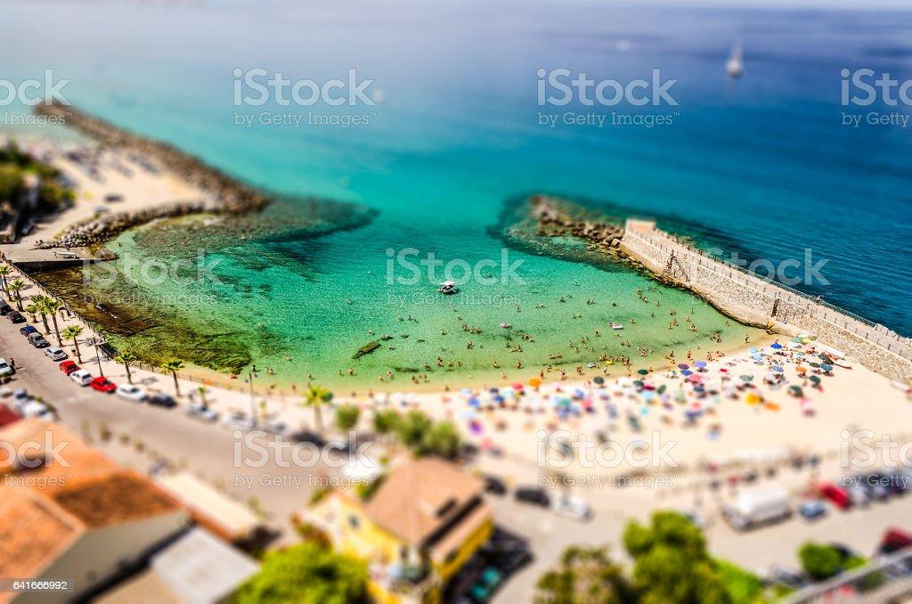 Panoramic bird-view of Pizzo Calabro coastline. Tilt-shift effect applied stock photo