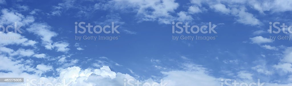 Panoramic blue sky, clouds pattern copy space, cloudscape panorama royalty-free stock photo