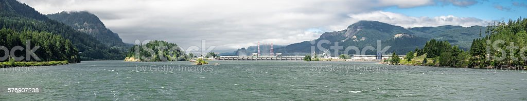 Panoramic Bonneville Dam Navigation Lock Columbia River Cloudy Sky stock photo