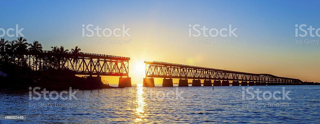 Panoramic broken bridge stock photo