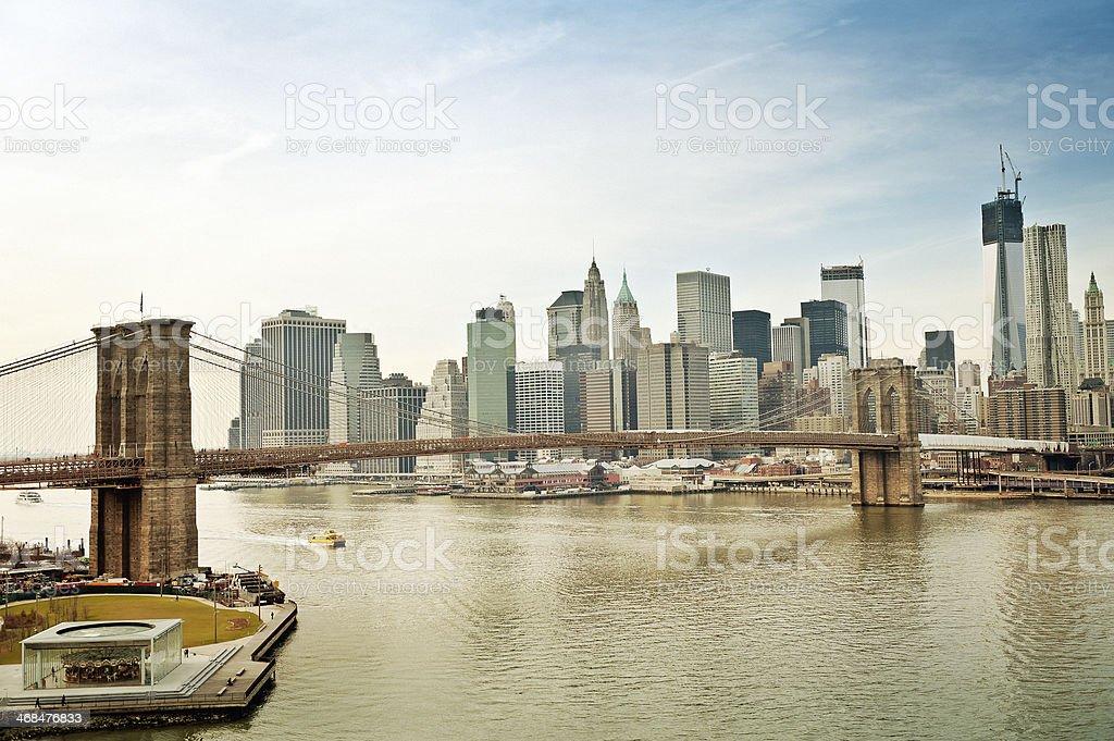 Panoramic Brooklyn bridge and skyline royalty-free stock photo