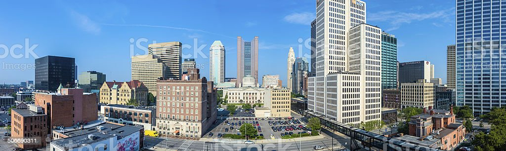 Panoramic Buildings in Downtown Columbus, Ohio stock photo