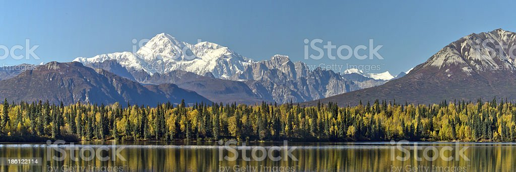 Panoramic Byers Lake Alaska and Mount McKinley during Fall stock photo