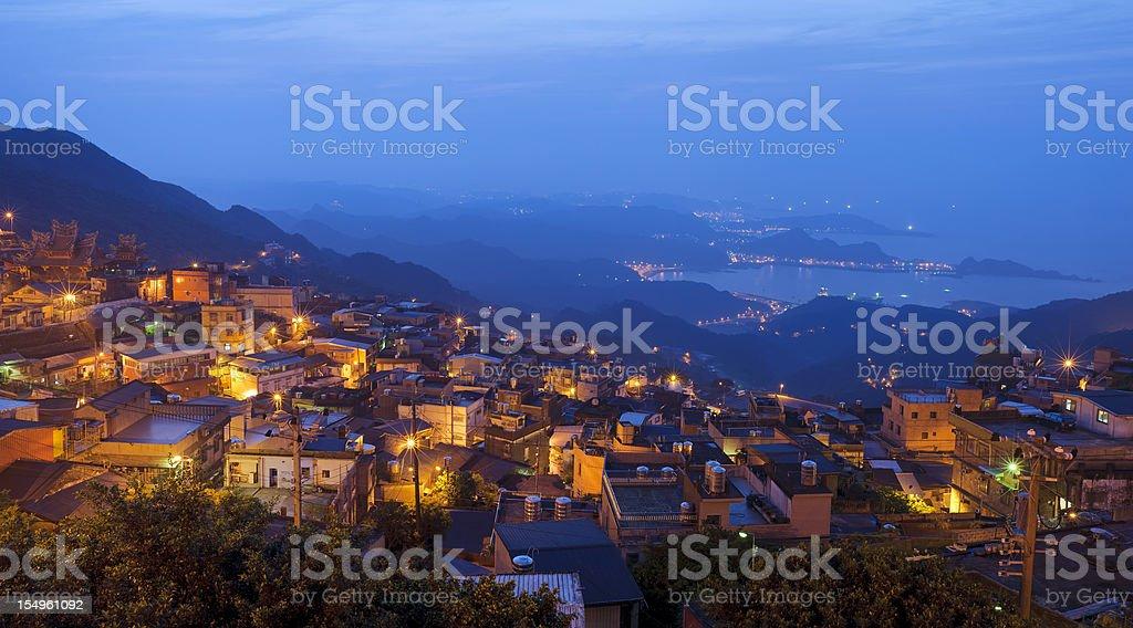 Panoramic city night stock photo