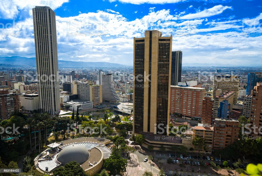 Panoramic city of Bogotá, Colombia. stock photo