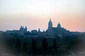 Panoramic city of Salamanca with color sky gold