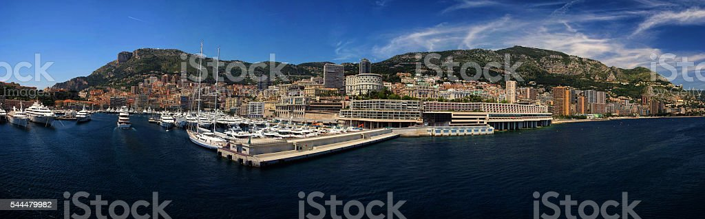 panoramic Cityscape and harbor of Monte Carlo. Principality of M stock photo