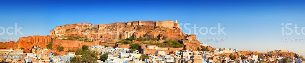 Panoramic Cityscape of Blue City and Mehrangarh Fort, Jodhpur, India stock photo