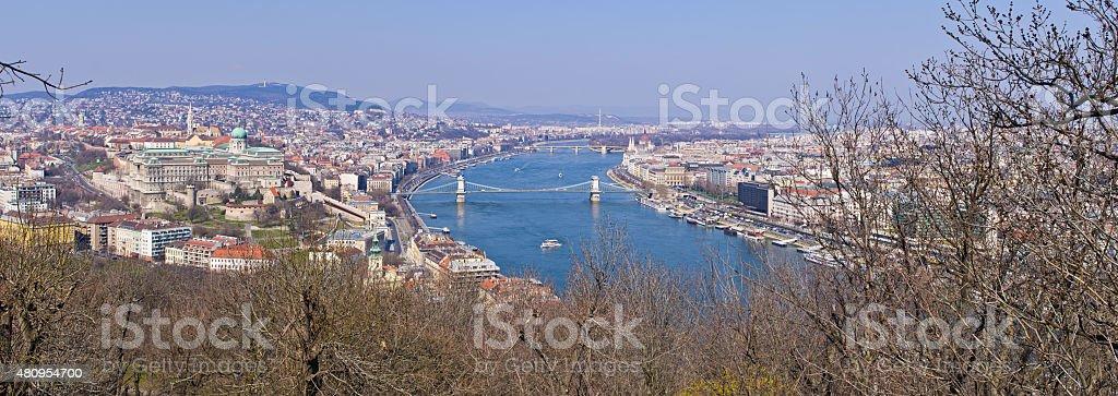 Panoramic cityscape of Budapest, Hungary stock photo