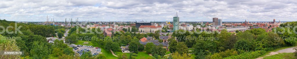Panoramic cityscape of Gdansk, Poland stock photo