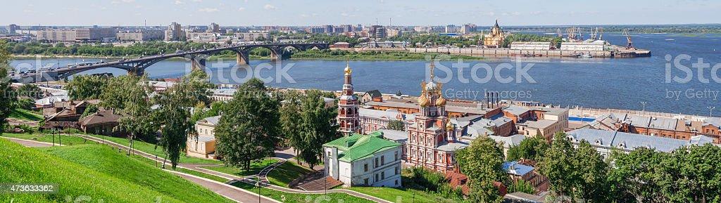 Panoramic cityscape of Nizhny Novgorod. stock photo
