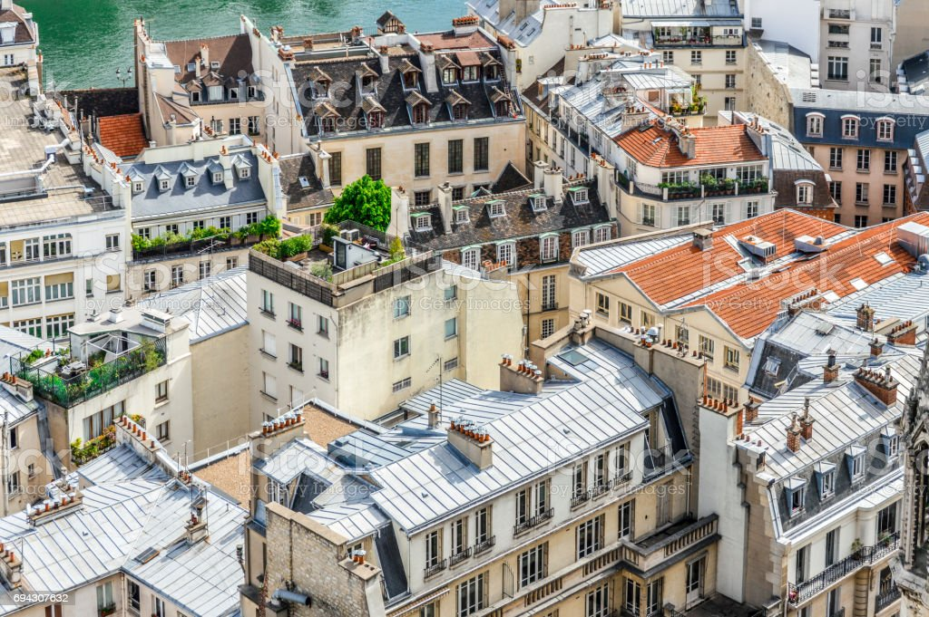 Panoramic cityscape of Paris, France stock photo