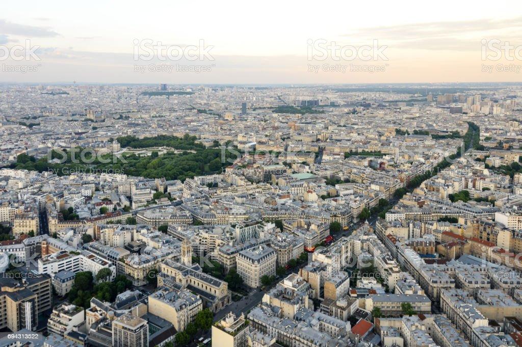 Panoramic cityscape of Paris stock photo