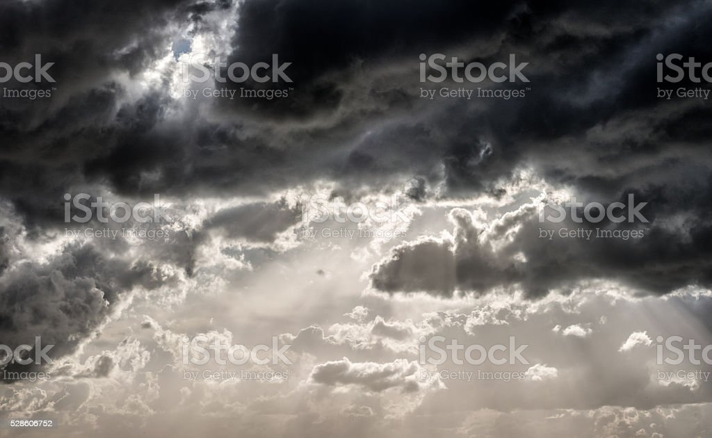 Panoramic clouds in sky before rain stock photo