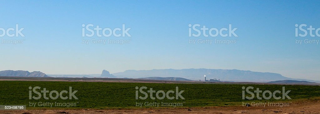 Panoramic coal fired power plant and Shiprock stock photo