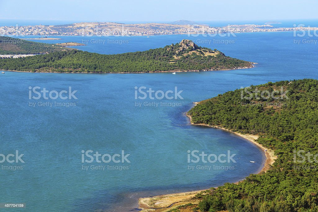 Panoramic coast view , Ayvalik, Turkey stock photo