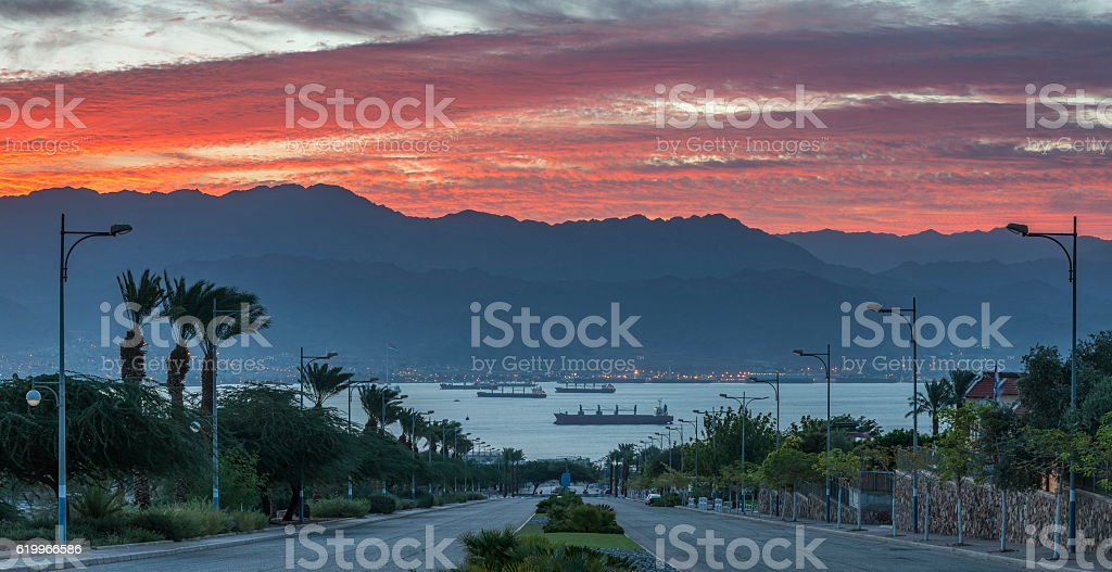 Panoramic colorful view on the Red Sea stock photo