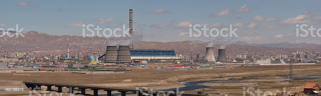 Panoramic Composition of Power Plant royalty-free stock photo