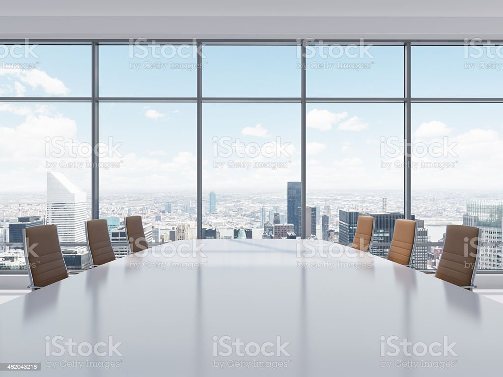 Panoramic conference room in modern office in New York City. stock photo