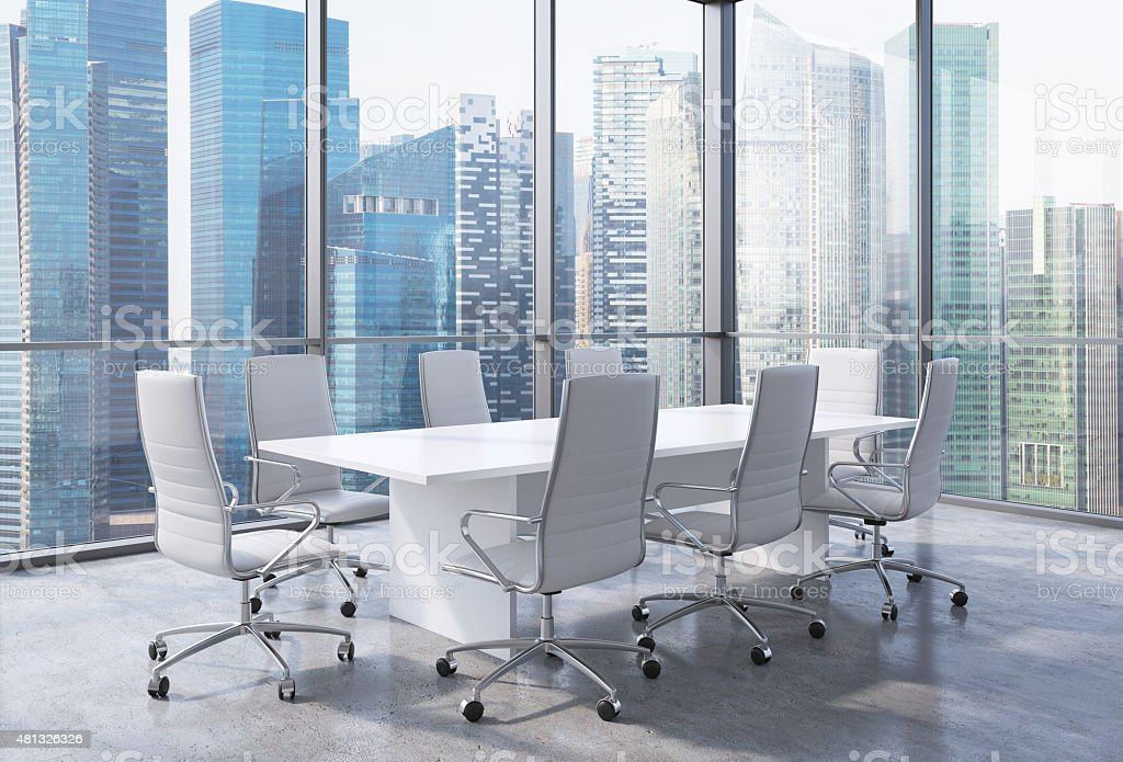 Panoramic conference room in modern office in Singapore stock photo
