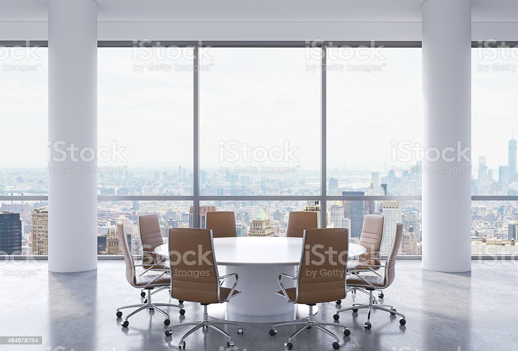 Panoramic conference room in modern office, stock photo