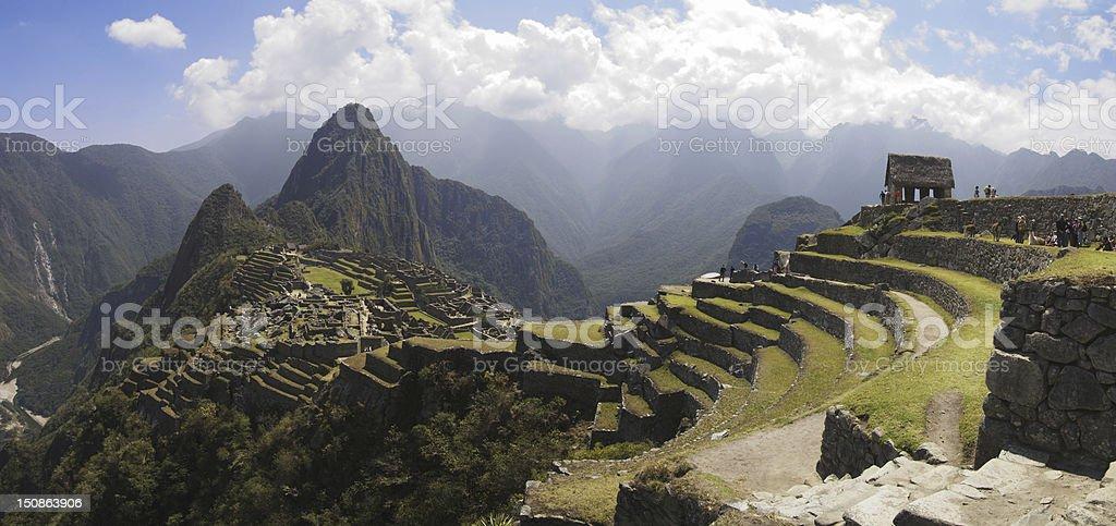 Panoramic countryside view of Machu Picchu stock photo