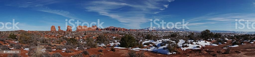 Panoramic Courthouse Towers, La Sal Mountains, Arches National Park stock photo