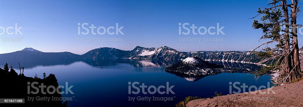 Panoramic, Crater Lake, Oregon stock photo