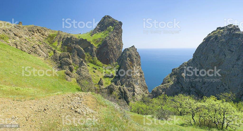 Panoramic Crimean landscape - Karadag volcanic mountain range royalty-free stock photo