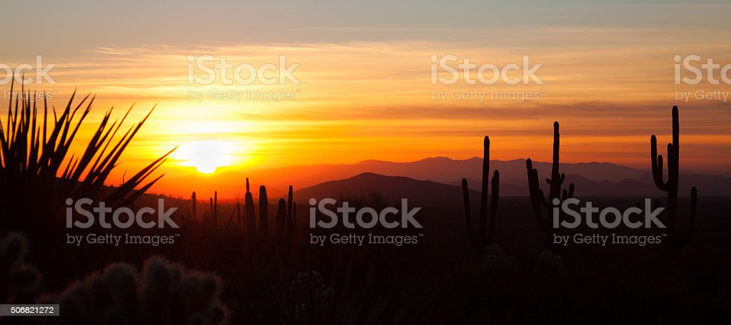 Panoramic Desert Sunset stock photo