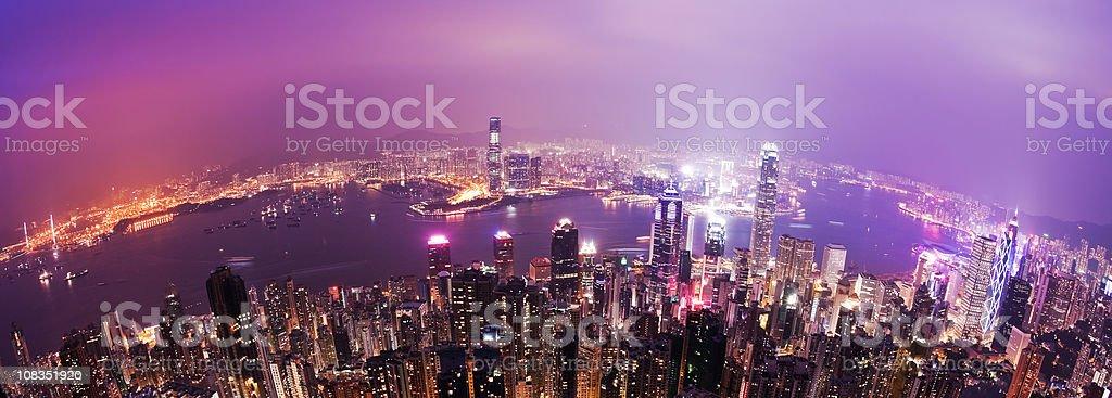 Panoramic fisheye view of Hong Kong at night royalty-free stock photo