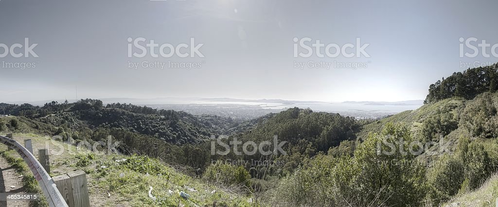 Panoramic from hilltop stock photo
