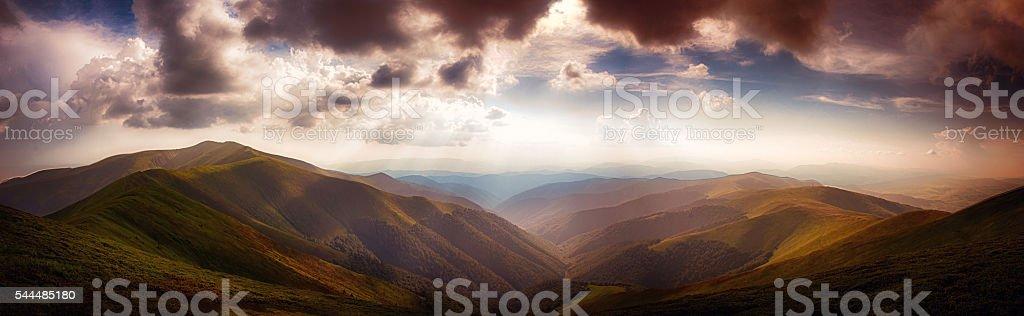 Panoramic from Polonina Borzava (Carpathians, Ukraine 2016) stock photo