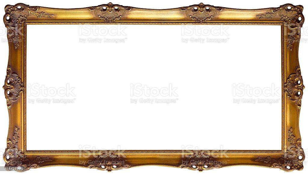 Panoramic Golden Frame Cutout stock photo