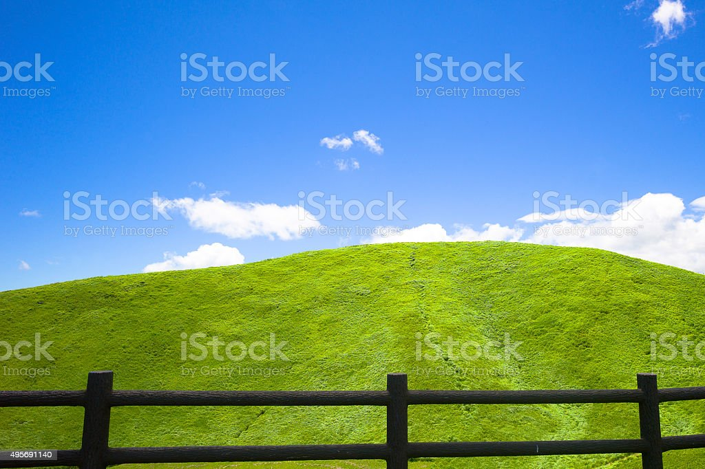 Panoramic green and blue View stock photo