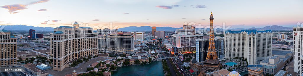 Panoramic high angle view of Las Vegas Strip at sunset stock photo