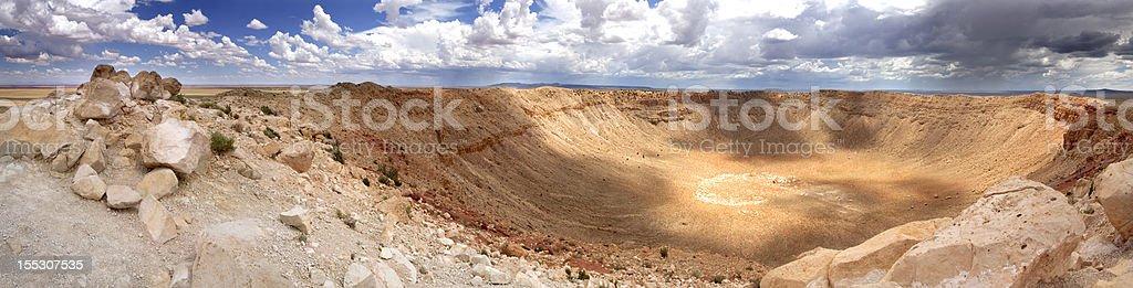 Panoramic high resolution view of Meteor Crater - Arizona stock photo